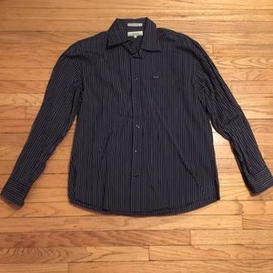 Faconnable navy striped dress shirt - Large